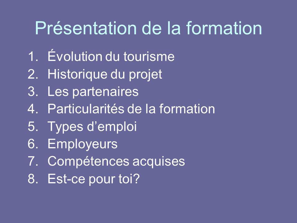 Présentation de la formation 1.Évolution du tourisme 2.Historique du projet 3.Les partenaires 4.Particularités de la formation 5.Types demploi 6.Emplo