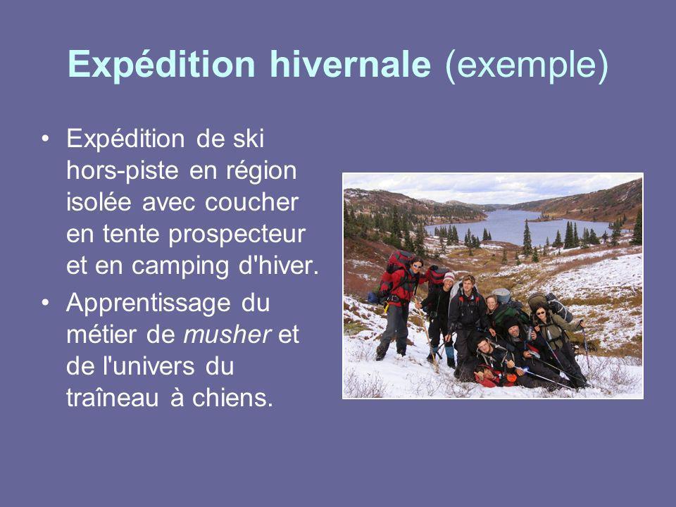 Expédition hivernale (exemple) Expédition de ski hors-piste en région isolée avec coucher en tente prospecteur et en camping d'hiver. Apprentissage du
