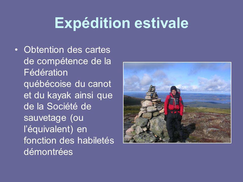 Expédition estivale Obtention des cartes de compétence de la Fédération québécoise du canot et du kayak ainsi que de la Société de sauvetage (ou léqui