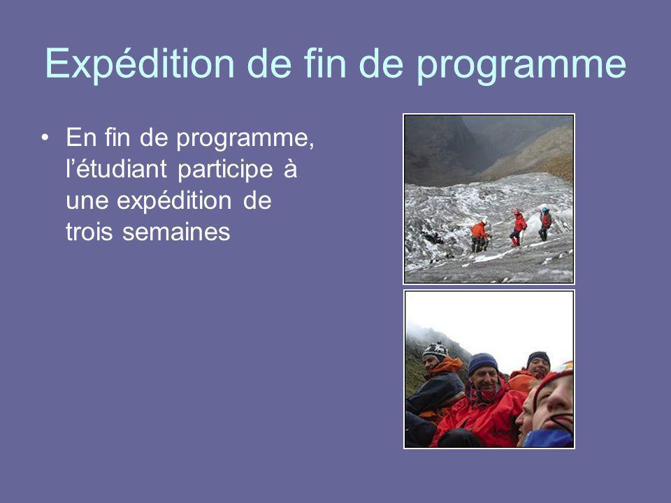 Expédition de fin de programme En fin de programme, létudiant participe à une expédition de trois semaines