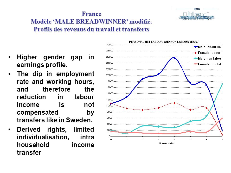 France Modèle MALE BREADWINNER modifié. Profils des revenus du travail et transferts Higher gender gap in earnings profile. The dip in employment rate