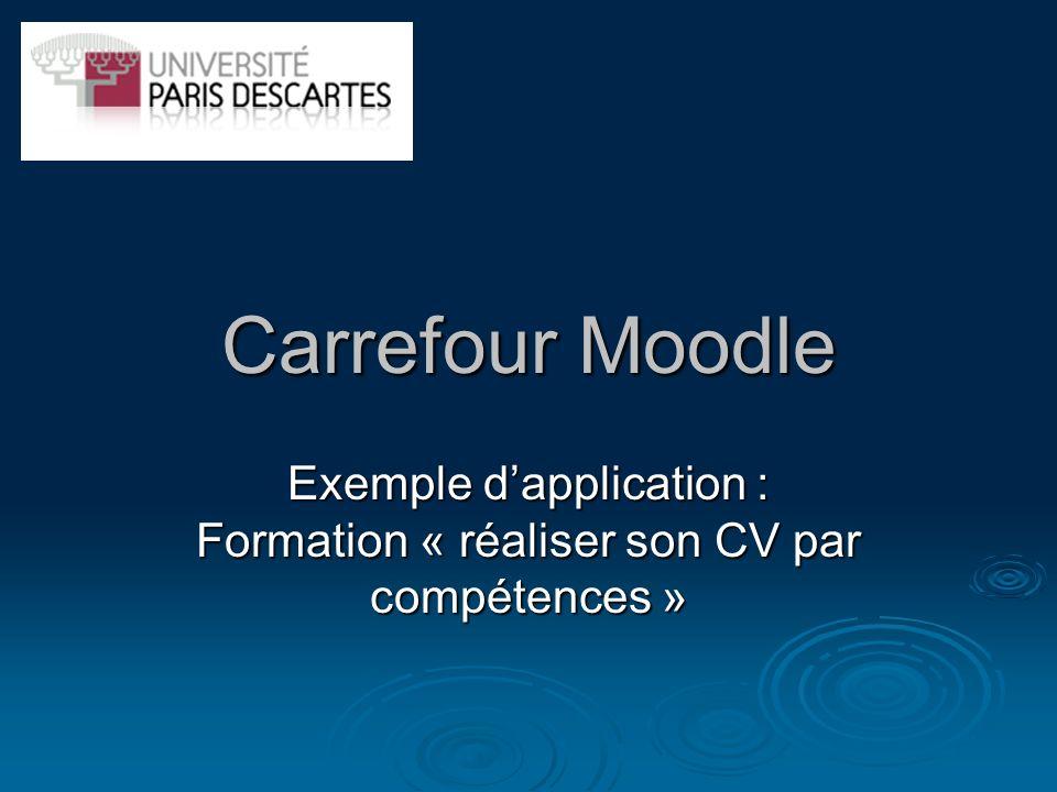 Carrefour Moodle Exemple dapplication : Formation « réaliser son CV par compétences »