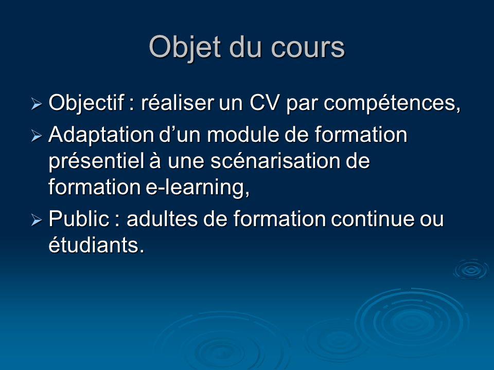 Objet du cours Objectif : réaliser un CV par compétences, Objectif : réaliser un CV par compétences, Adaptation dun module de formation présentiel à u