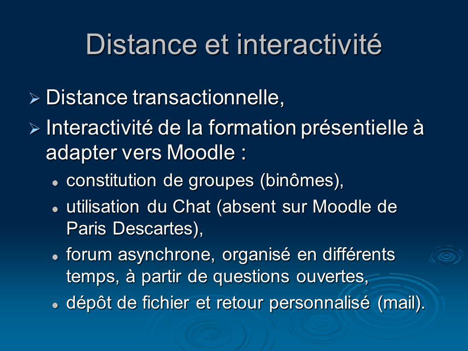 Distance et interactivité Distance transactionnelle, Distance transactionnelle, Interactivité de la formation présentielle à adapter vers Moodle : Int