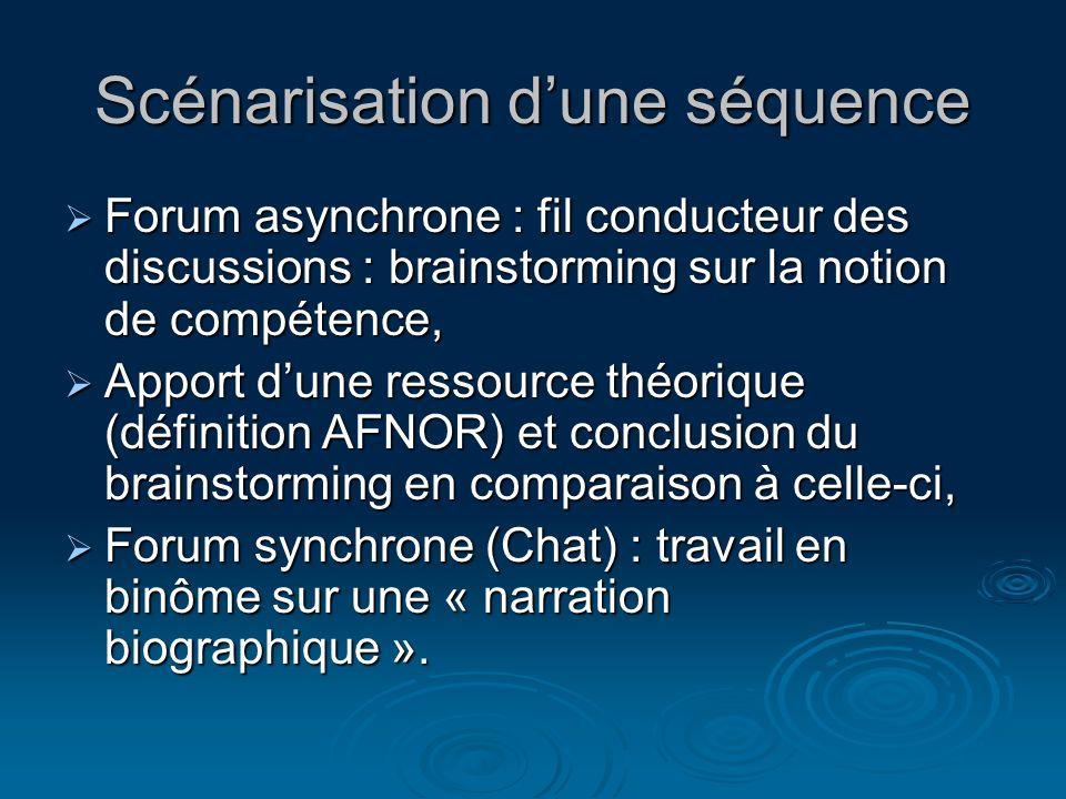 Scénarisation dune séquence Forum asynchrone : fil conducteur des discussions : brainstorming sur la notion de compétence, Forum asynchrone : fil cond