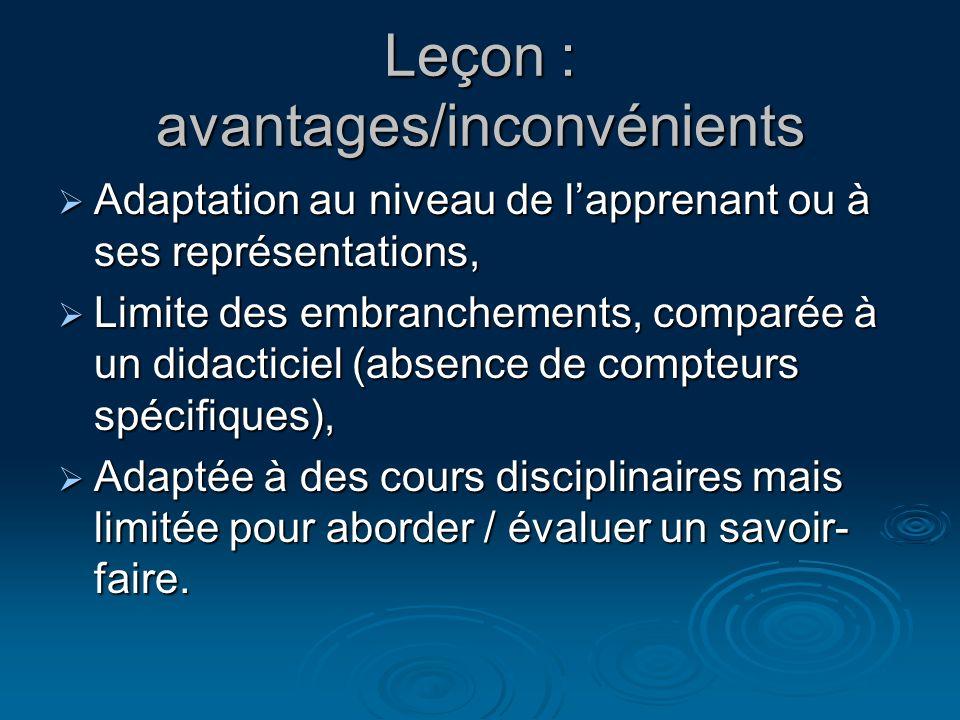 Leçon : avantages/inconvénients Adaptation au niveau de lapprenant ou à ses représentations, Adaptation au niveau de lapprenant ou à ses représentatio