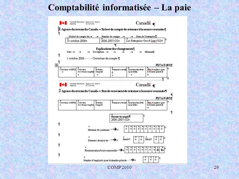 COMP 201029 Comptabilité informatisée – La paie