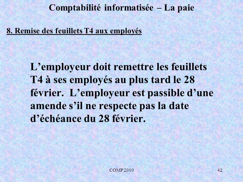 COMP 201042 Comptabilité informatisée – La paie Lemployeur doit remettre les feuillets T4 à ses employés au plus tard le 28 février.