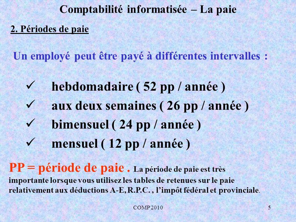 COMP 201026 Comptabilité informatisée – La paie 5.4 Comptabilisation de la contribution de lemployeur (A-E et R.P.C) Dt Ct 520 Charges sociales 55,62 210 A-E à payer 22,13 215 R.P.C à payer 33,49 Comptabiliser les contributions de l employeur à A-E et R.P.C.