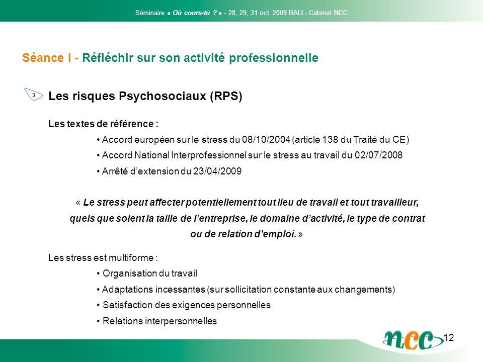 12 Séance I - Réfléchir sur son activité professionnelle Les risques Psychosociaux (RPS) Les textes de référence : Accord européen sur le stress du 08
