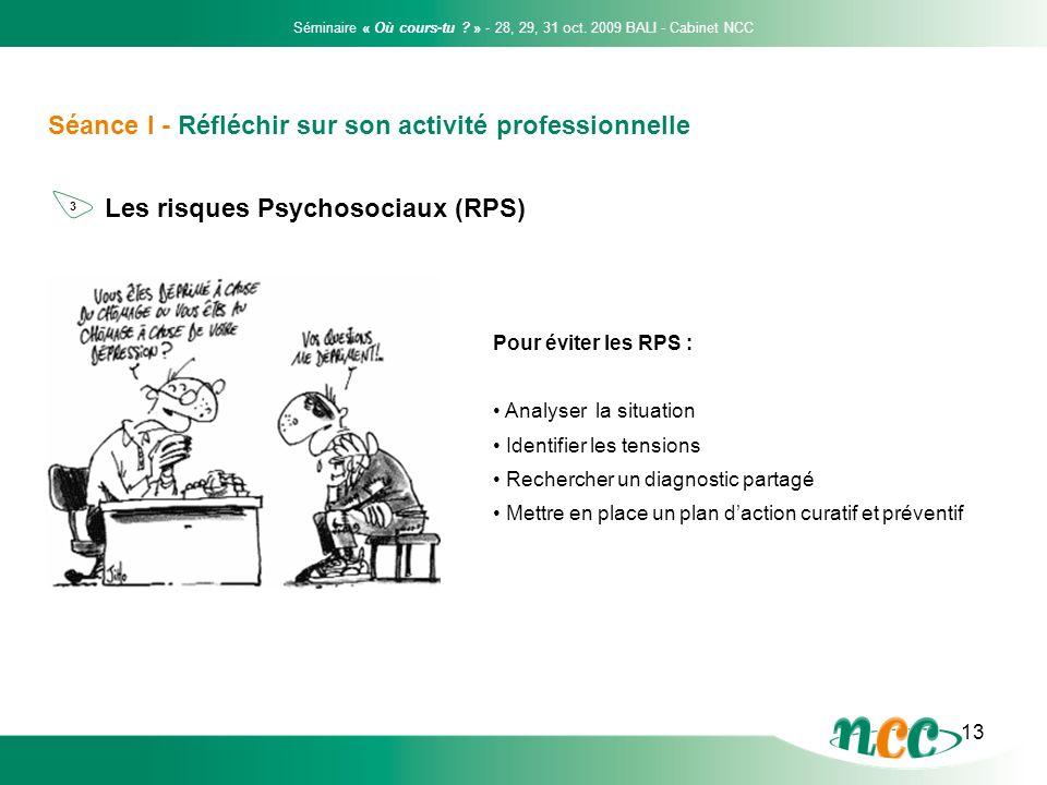 13 Séance I - Réfléchir sur son activité professionnelle Les risques Psychosociaux (RPS) Pour éviter les RPS : Analyser la situation Identifier les te