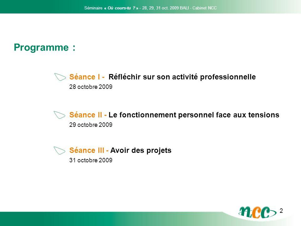 3 28 octobre 2009 Séance I - Réfléchir sur son activité professionnelle Le parcours professionnel : les questions clés Quel est notre métier .