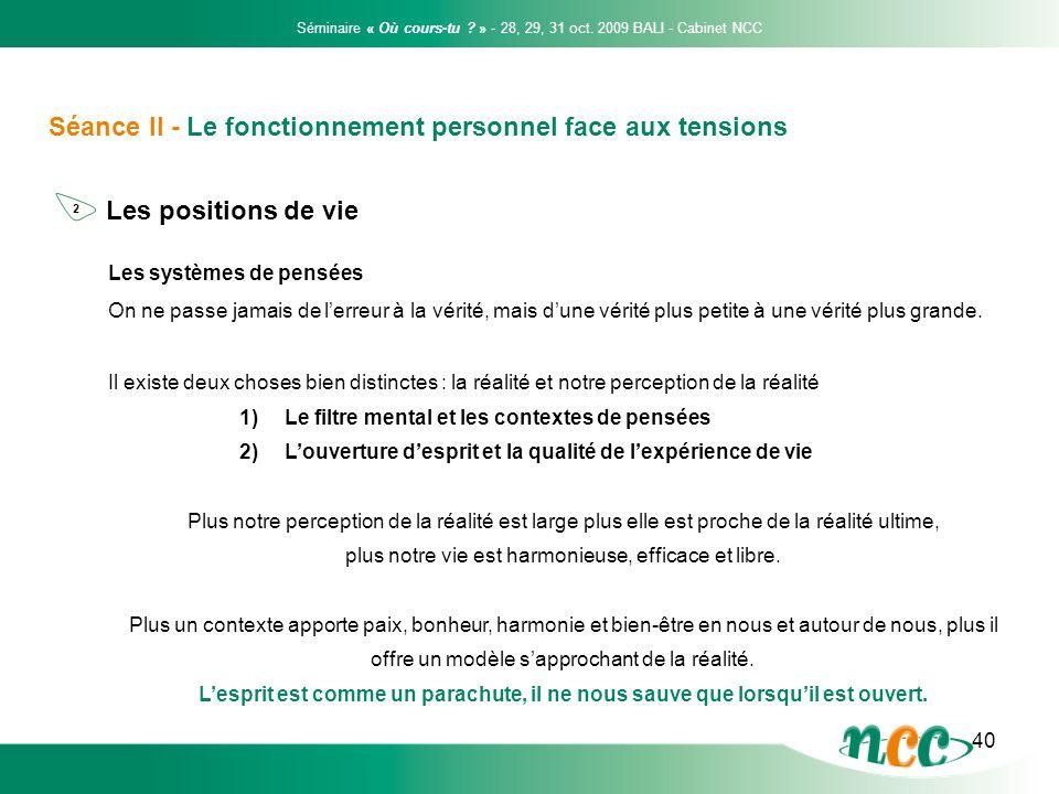 40 Séance II - Le fonctionnement personnel face aux tensions Les positions de vie Séminaire « Où cours-tu ? » - 28, 29, 31 oct. 2009 BALI - Cabinet NC