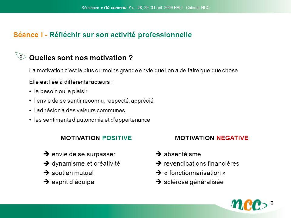 6 Séance I - Réfléchir sur son activité professionnelle Quelles sont nos motivation ? La motivation cest la plus ou moins grande envie que lon a de fa