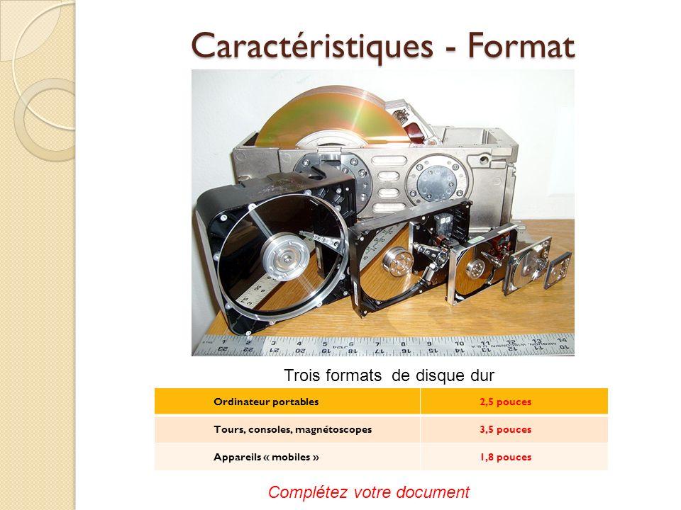Caractéristiques - Format Ordinateur portables2,5 pouces Tours, consoles, magnétoscopes3,5 pouces Appareils « mobiles »1,8 pouces Trois formats de dis