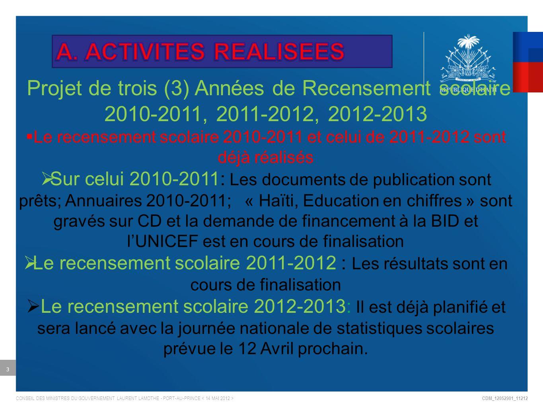 CDM_12052901_11212 CONSEIL DES MINISTRES DU GOUVERNEMENT LAURENT LAMOTHE - PORT-AU-PRINCE 3 Projet de trois (3) Années de Recensement scolaire 2010-2011, 2011-2012, 2012-2013 Le recensement scolaire 2010-2011 et celui de 2011-2012 sont déjà réalisés Sur celui 2010-2011: Les documents de publication sont prêts; Annuaires 2010-2011; « Haïti, Education en chiffres » sont gravés sur CD et la demande de financement à la BID et lUNICEF est en cours de finalisation Le recensement scolaire 2011-2012 : Les résultats sont en cours de finalisation Le recensement scolaire 2012-2013: Il est déjà planifié et sera lancé avec la journée nationale de statistiques scolaires prévue le 12 Avril prochain.