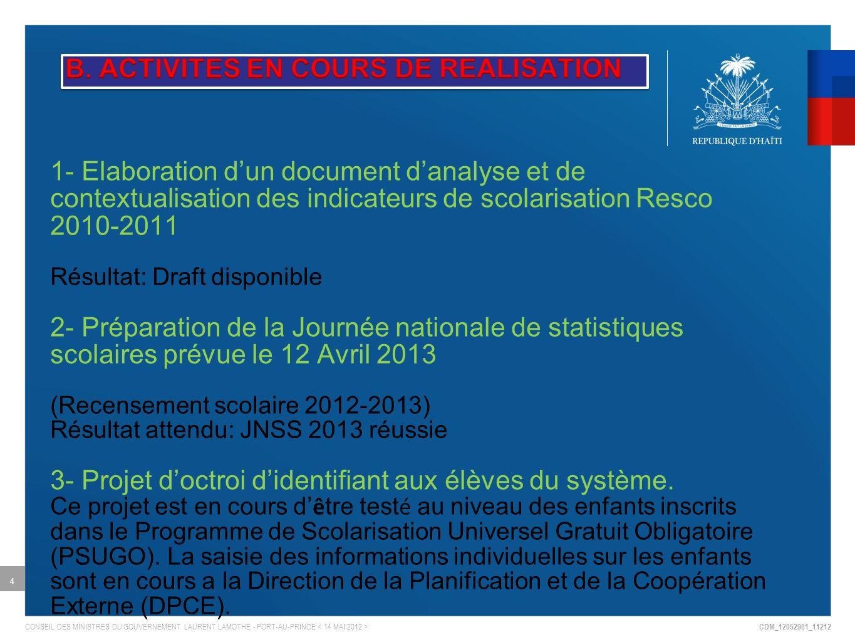 CDM_12052901_11212 CONSEIL DES MINISTRES DU GOUVERNEMENT LAURENT LAMOTHE - PORT-AU-PRINCE 4 1- Elaboration dun document danalyse et de contextualisation des indicateurs de scolarisation Resco 2010-2011 Résultat: Draft disponible 2- Préparation de la Journée nationale de statistiques scolaires prévue le 12 Avril 2013 (Recensement scolaire 2012-2013) Résultat attendu: JNSS 2013 réussie 3- Projet doctroi didentifiant aux élèves du système.