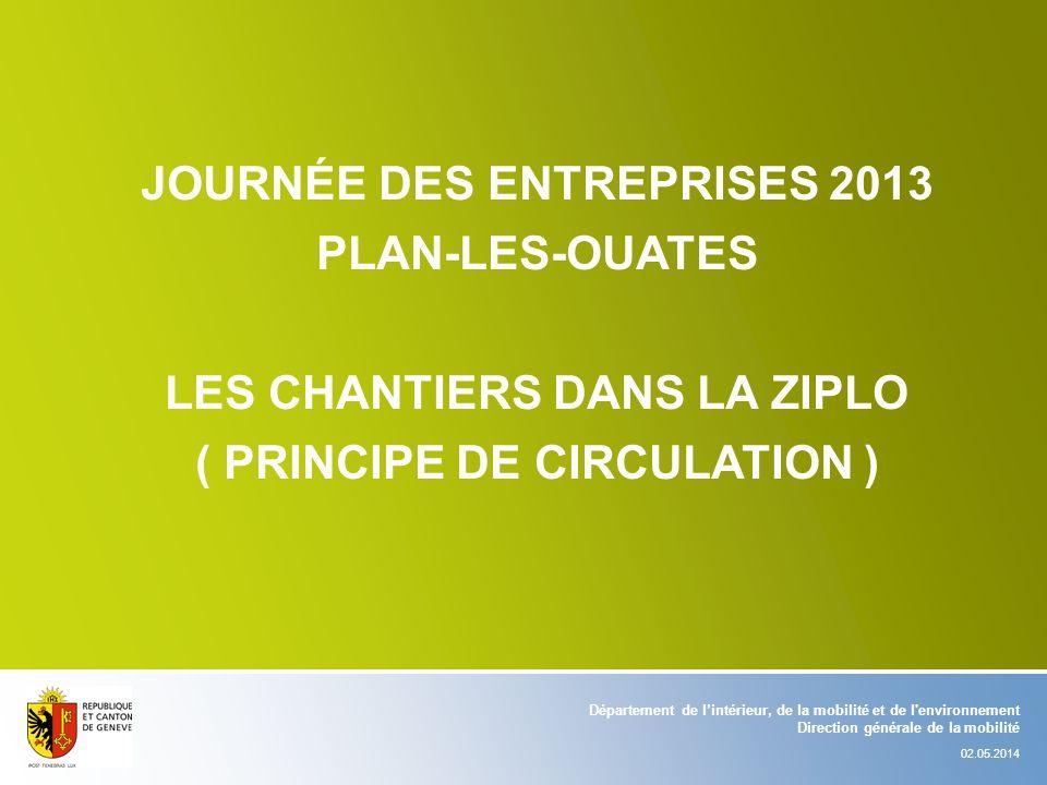 JOURNÉE DES ENTREPRISES 2013 PLAN-LES-OUATES LES CHANTIERS DANS LA ZIPLO ( PRINCIPE DE CIRCULATION ) Département de lintérieur, de la mobilité et de l