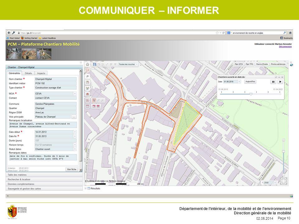 Département de lintérieur, de la mobilité et de l'environnement Direction générale de la mobilité 02.05.2014 Page 10 COMMUNIQUER – INFORMER