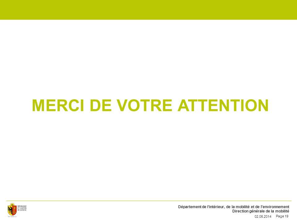 Département de lintérieur, de la mobilité et de l'environnement Direction générale de la mobilité MERCI DE VOTRE ATTENTION 02.05.2014 Page 19