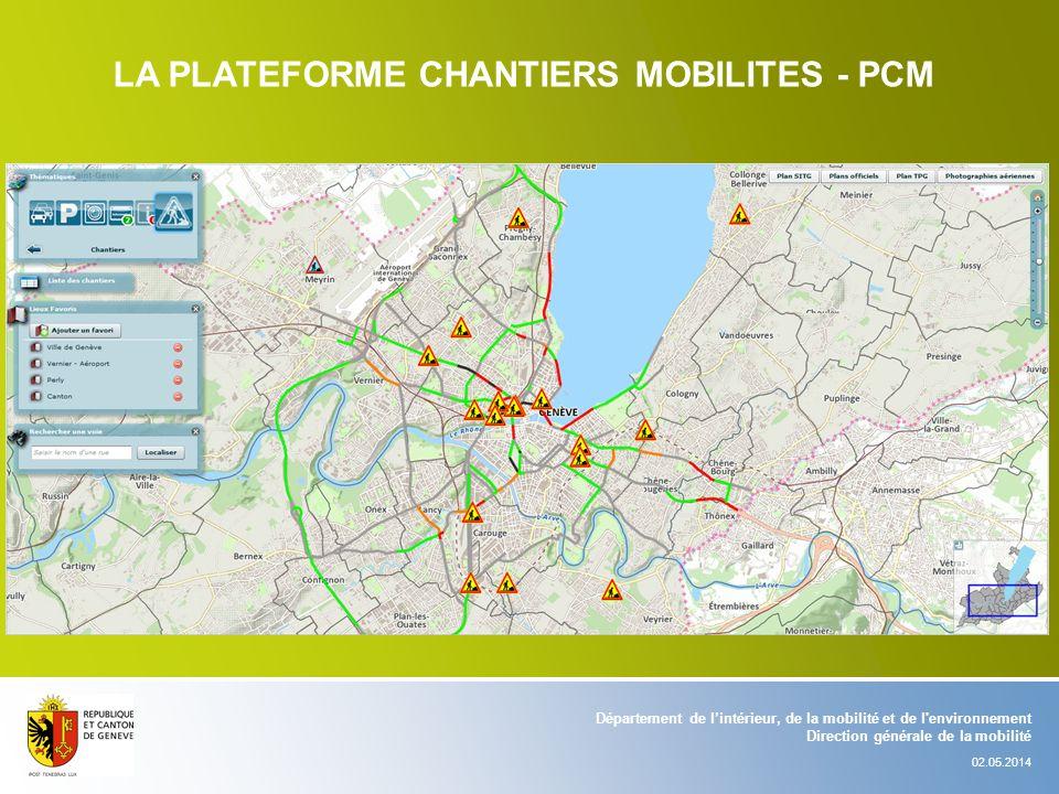 Département de lintérieur, de la mobilité et de l'environnement Direction générale de la mobilité 02.05.2014 LA PLATEFORME CHANTIERS MOBILITES - PCM