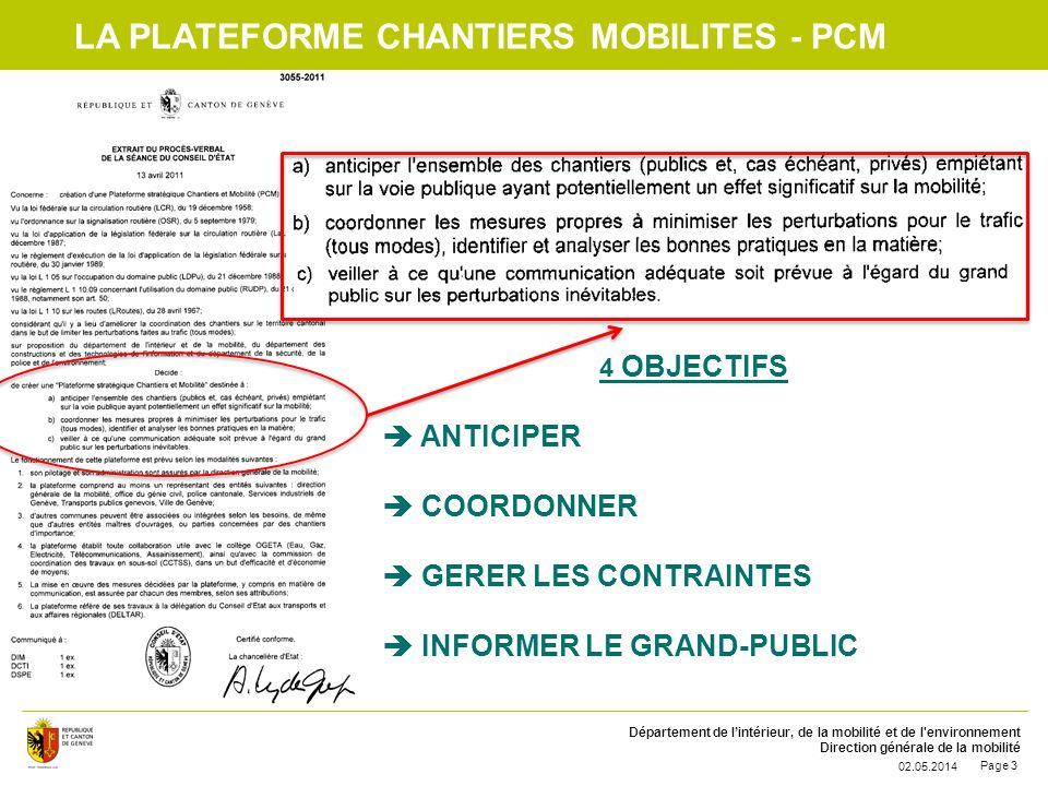 Département de lintérieur, de la mobilité et de l'environnement Direction générale de la mobilité 02.05.2014 Page 3 LA PLATEFORME CHANTIERS MOBILITES