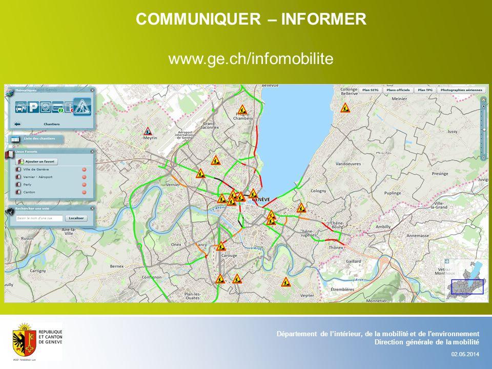 Département de lintérieur, de la mobilité et de l'environnement Direction générale de la mobilité 02.05.2014 COMMUNIQUER – INFORMER www.ge.ch/infomobi