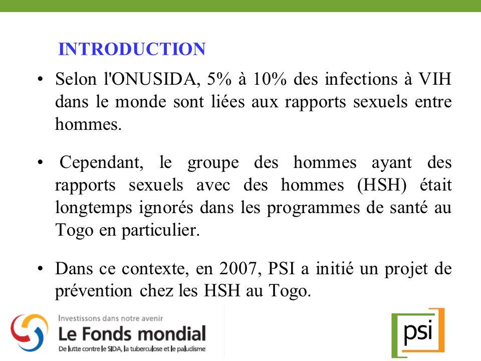 INTRODUCTION Selon l'ONUSIDA, 5% à 10% des infections à VIH dans le monde sont liées aux rapports sexuels entre hommes. Cependant, le groupe des homme
