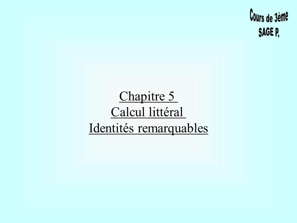 I-RAPPELS 1) Écriture littérale - Identité On appelle écriture littérale une écriture dans laquelle certains nombres sont remplacés par des lettres.