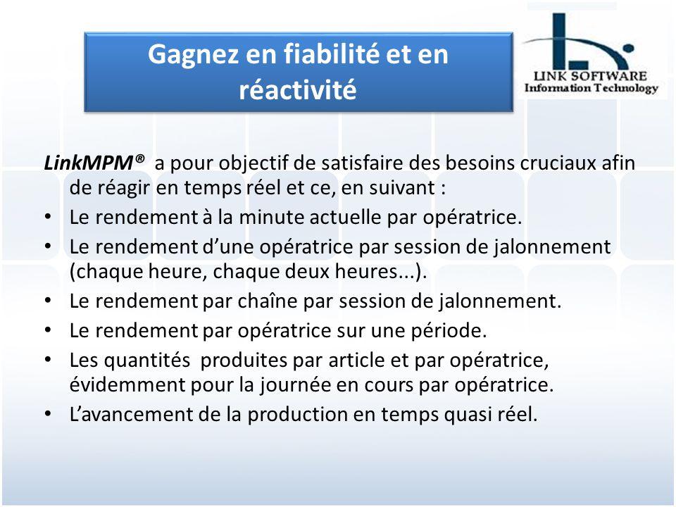 LinkMPM® a pour objectif de satisfaire des besoins cruciaux afin de réagir en temps réel et ce, en suivant : Le rendement à la minute actuelle par opératrice.