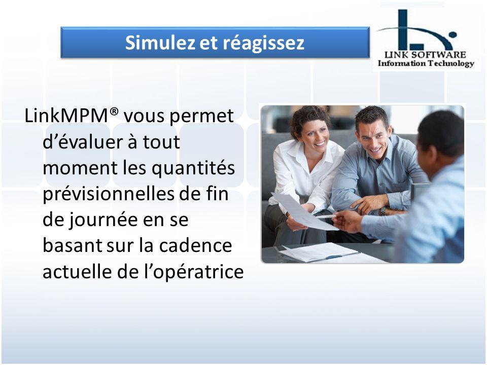 LinkMPM® vous permet dévaluer à tout moment les quantités prévisionnelles de fin de journée en se basant sur la cadence actuelle de lopératrice Simulez et réagissez