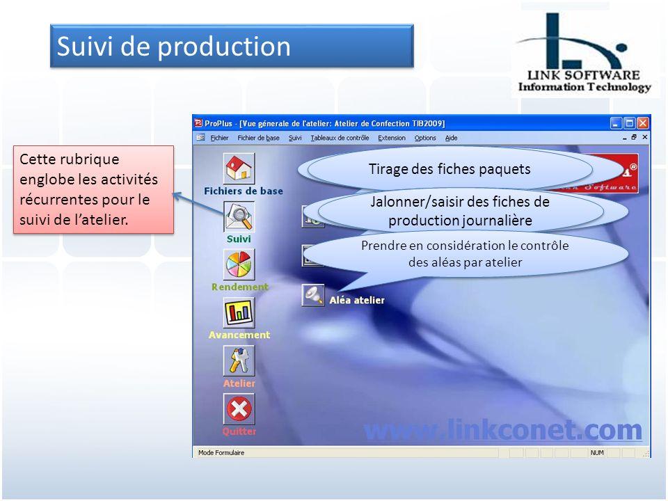 Suivi de production Cette rubrique englobe les activités récurrentes pour le suivi de latelier.