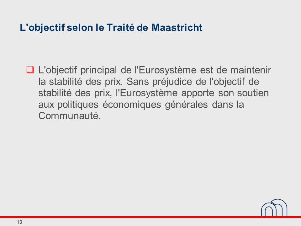 13 L'objectif selon le Traité de Maastricht L'objectif principal de l'Eurosystème est de maintenir la stabilité des prix. Sans préjudice de l'objectif