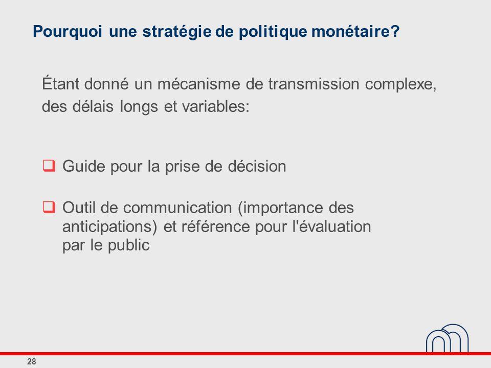 28 Pourquoi une stratégie de politique monétaire? Étant donné un mécanisme de transmission complexe, des délais longs et variables: Guide pour la pris