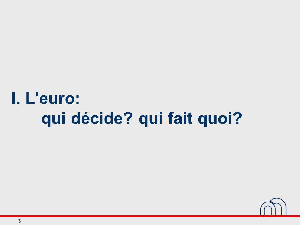 3 I. L'euro: qui décide? qui fait quoi?