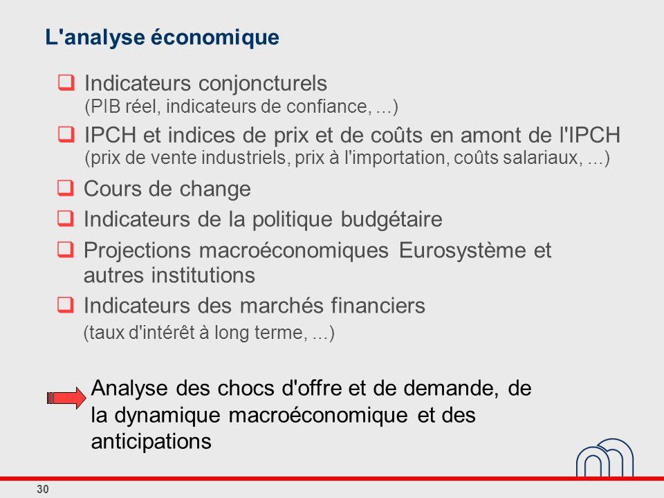 30 Indicateurs conjoncturels (PIB réel, indicateurs de confiance,...) IPCH et indices de prix et de coûts en amont de l'IPCH (prix de vente industriel