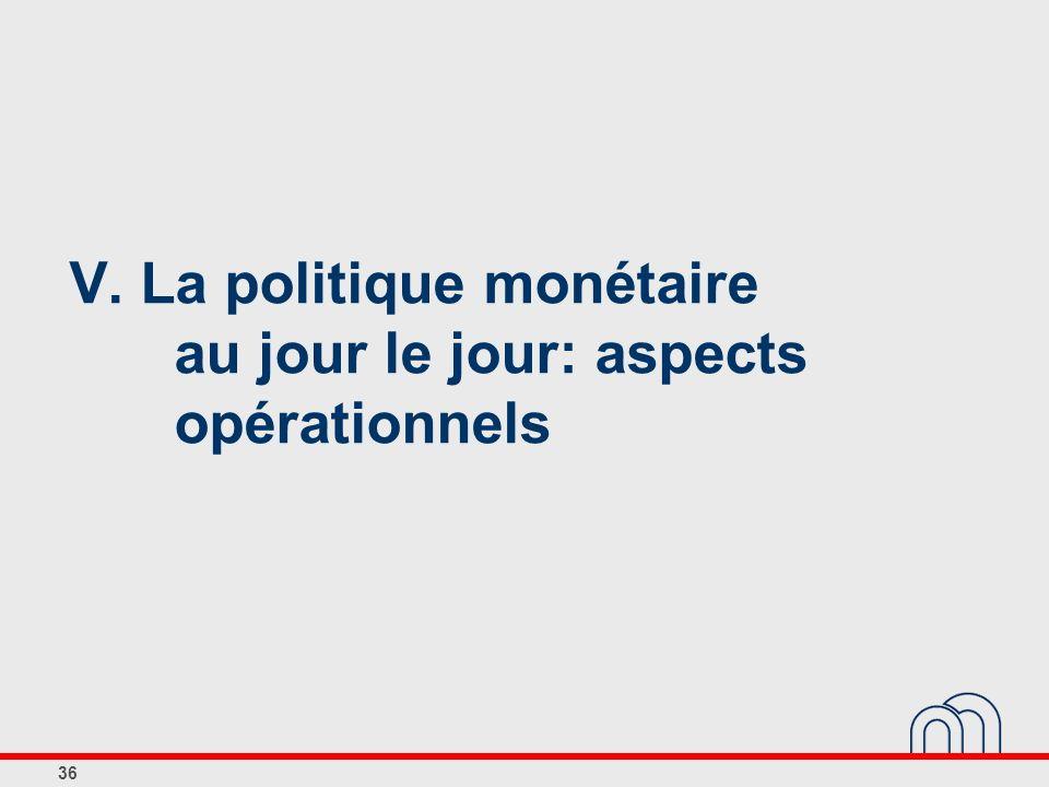 36 V. La politique monétaire au jour le jour: aspects opérationnels