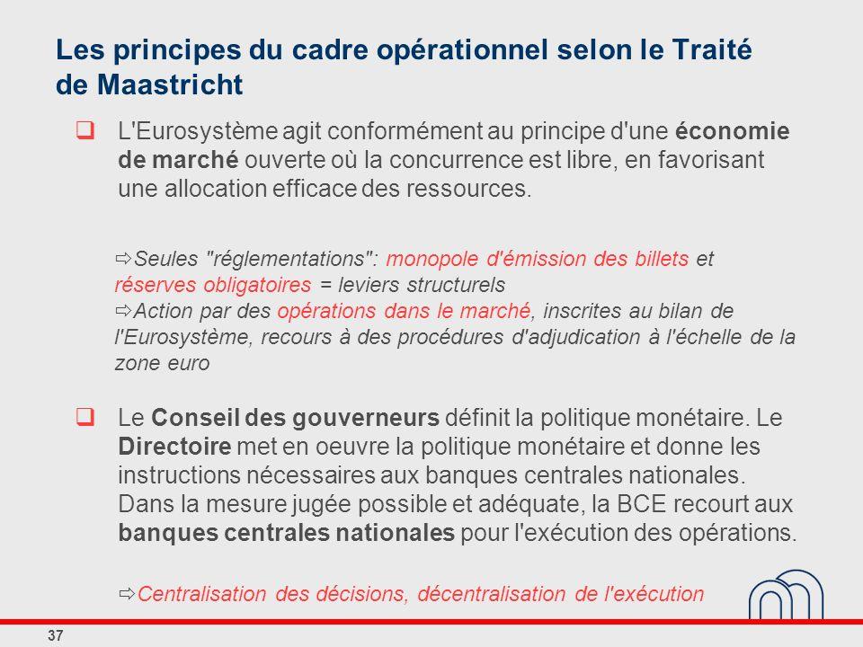 37 Les principes du cadre opérationnel selon le Traité de Maastricht L'Eurosystème agit conformément au principe d'une économie de marché ouverte où l