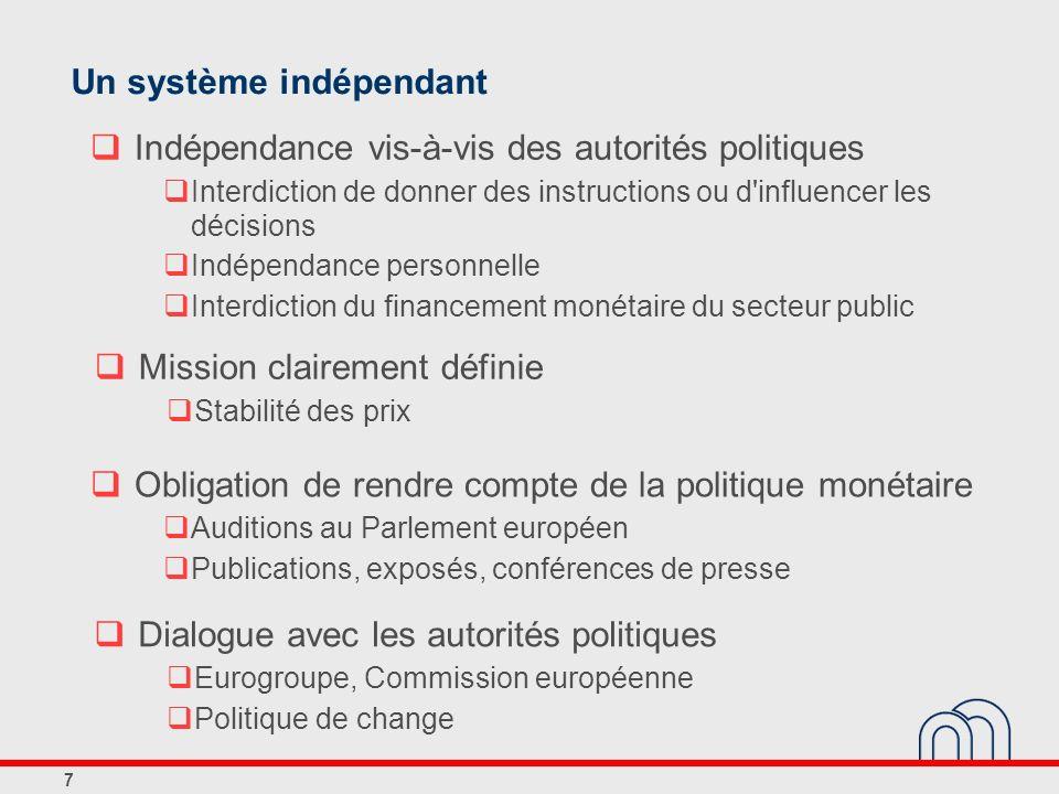 7 Un système indépendant Indépendance vis-à-vis des autorités politiques Interdiction de donner des instructions ou d'influencer les décisions Indépen