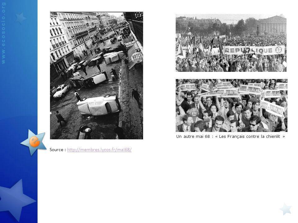 Source : http://membres.lycos.fr/mai68/http://membres.lycos.fr/mai68/ Un autre mai 68 : « Les Français contre la chienlit »