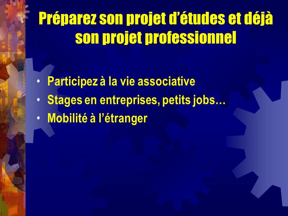 Préparez son projet détudes et déjà son projet professionnel Participez à la vie associative Stages en entreprises, petits jobs… Mobilité à létranger