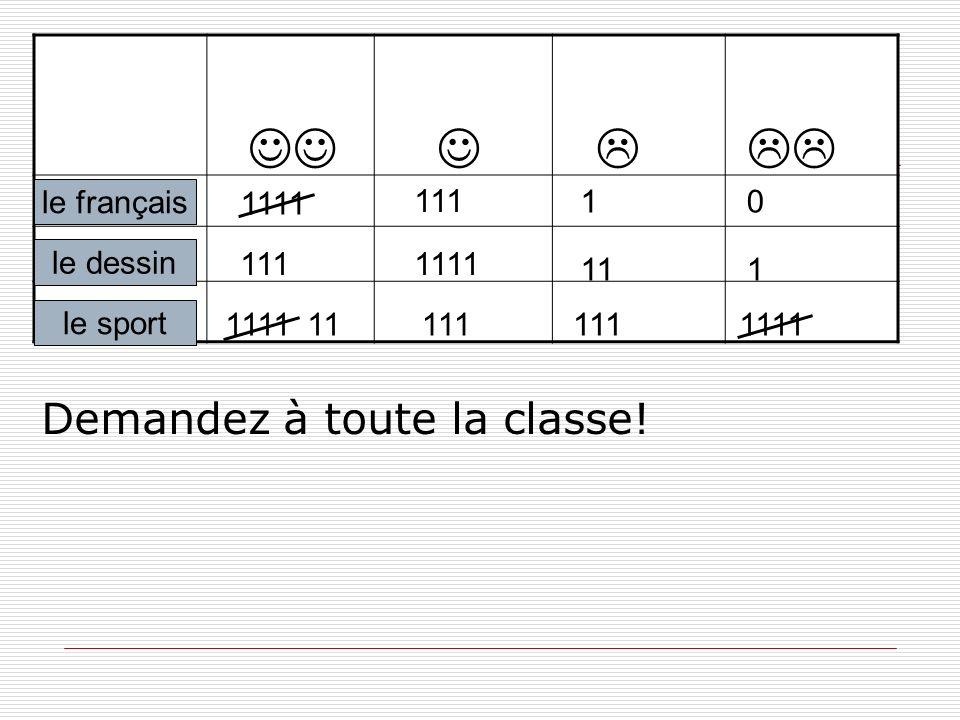 le sport le français le dessin 111 1111 1111 111111111 01 1111 111 Demandez à toute la classe!