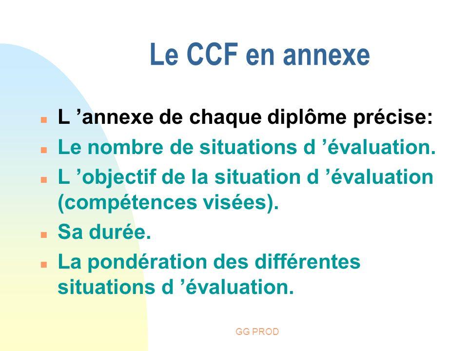 GG PROD Le CCF en annexe n L annexe de chaque diplôme précise: n Le nombre de situations d évaluation. n L objectif de la situation d évaluation (comp