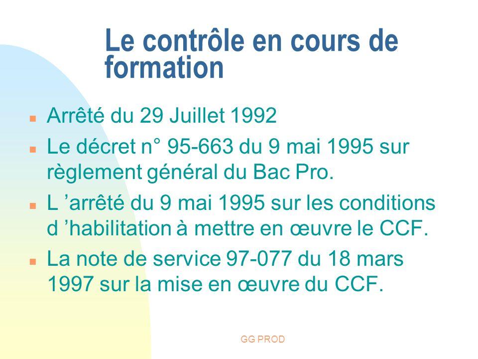 GG PROD n Arrêté du 29 Juillet 1992 n Le décret n° 95-663 du 9 mai 1995 sur règlement général du Bac Pro. n L arrêté du 9 mai 1995 sur les conditions