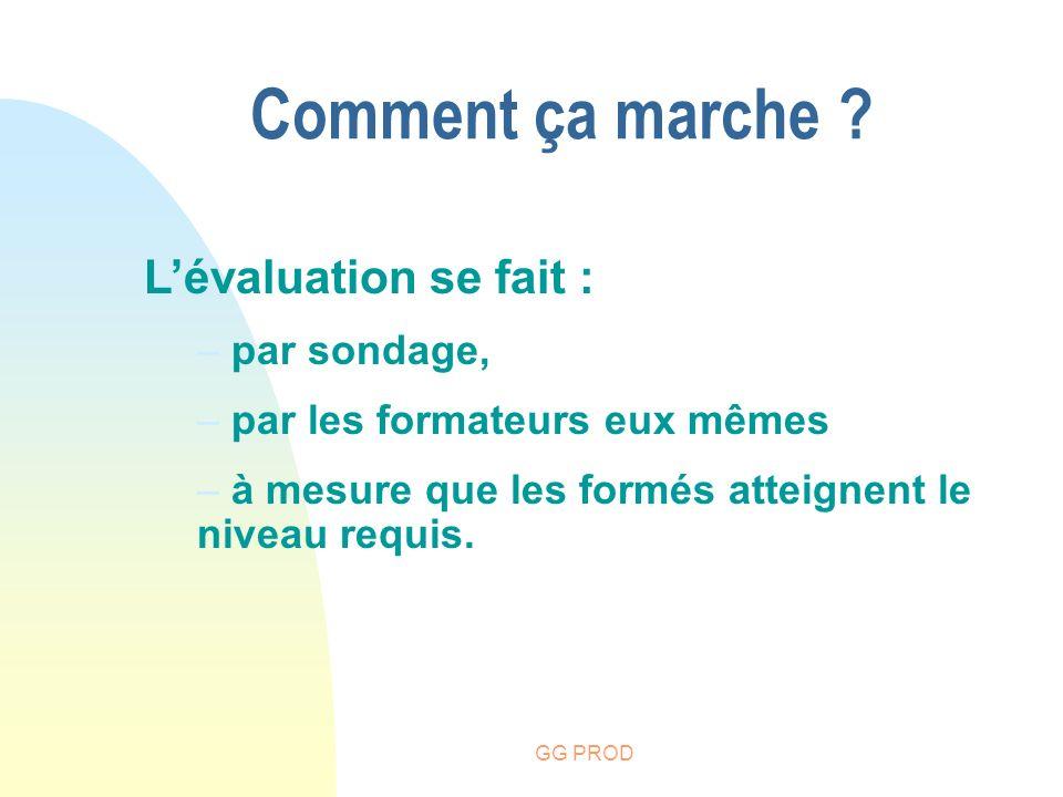 GG PROD Lévaluation se fait : – par sondage, – par les formateurs eux mêmes – à mesure que les formés atteignent le niveau requis. Comment ça marche ?