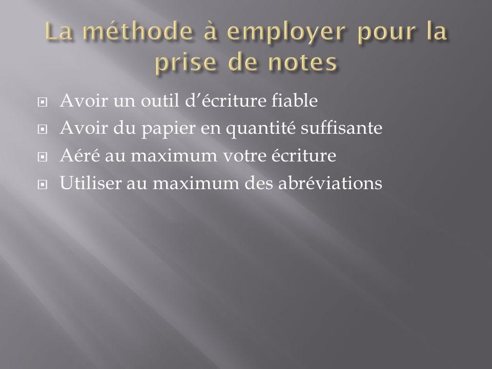 Avoir un outil décriture fiable Avoir du papier en quantité suffisante Aéré au maximum votre écriture Utiliser au maximum des abréviations