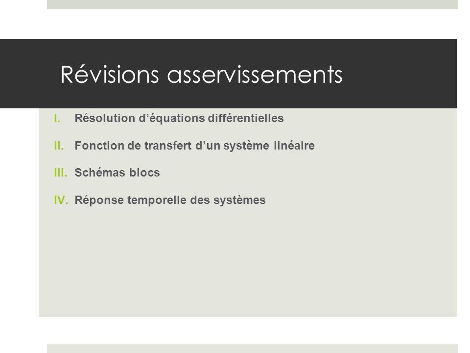 I.Résolution déquations différentielles II.Fonction de transfert dun système linéaire III.Schémas blocs IV.Réponse temporelle des systèmes Révisions a