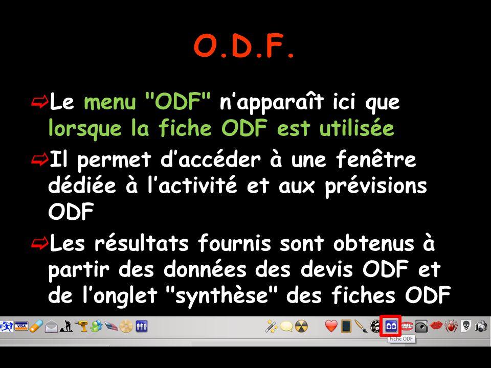Le menu ODF napparaît ici que lorsque la fiche ODF est utilisée Il permet daccéder à une fenêtre dédiée à lactivité et aux prévisions ODF Les résultats fournis sont obtenus à partir des données des devis ODF et de longlet synthèse des fiches ODF