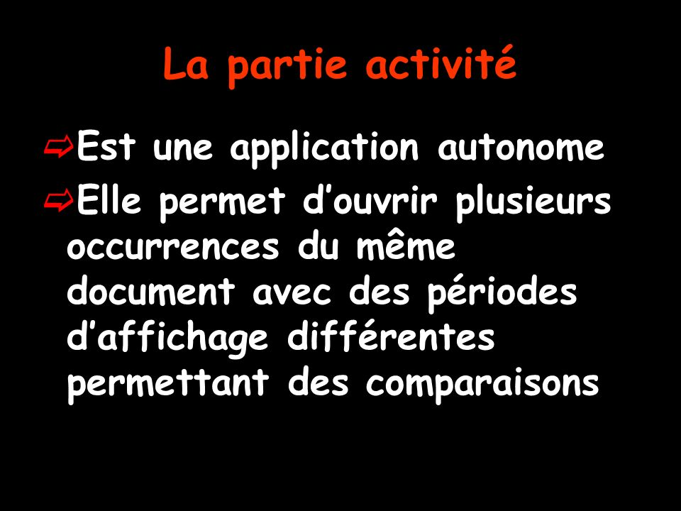 La partie activité Est une application autonome Elle permet douvrir plusieurs occurrences du même document avec des périodes daffichage différentes permettant des comparaisons
