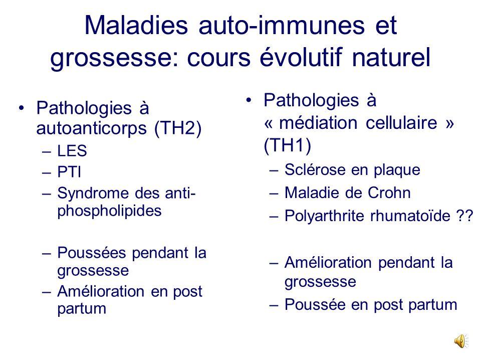 Cours évolutif des différents groupes de maladies autoimmunes au cours de la grossesse